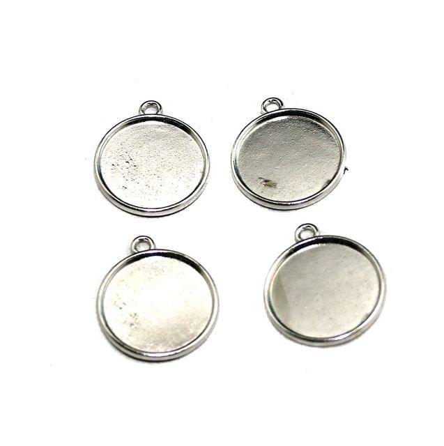 20 Pcs German Silver Pendant Base Silver 21mm