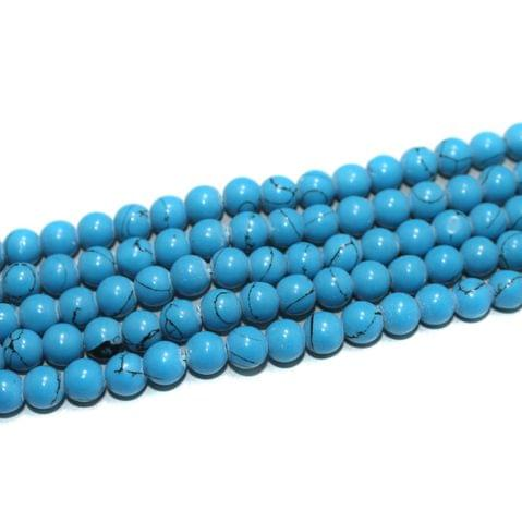 5 Strings Semiprecious Howlite Round Beads Sky Blue 8 mm