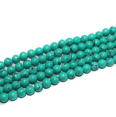 5 Strings Semiprecious Howlite Round Beads Turquoise 8 mm