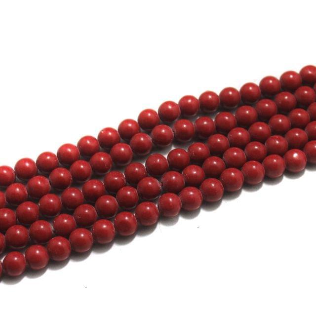 5 Strings Semiprecious Howlite Round Beads Coral 8 mm