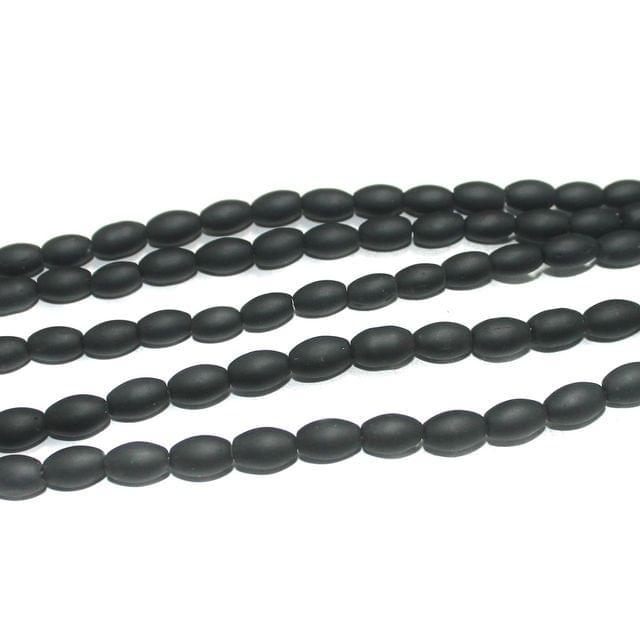 5 Strings Glass Beads Oval Black Matt 10x6mm