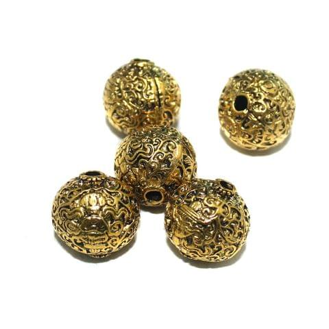 10 Pcs German Silver Golden Plated Beads 20mm