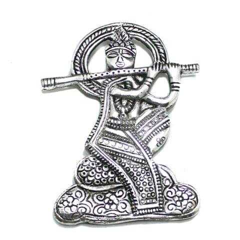 1 Pc German Silver Lord Krishna Pendant Silver