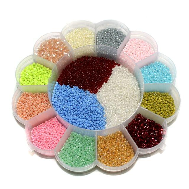 Beadsnfashion glass seed beads For Jewellery Making, Embroidery & Crafts DIY Kit, size 11/0, Pack Of 15 Colours