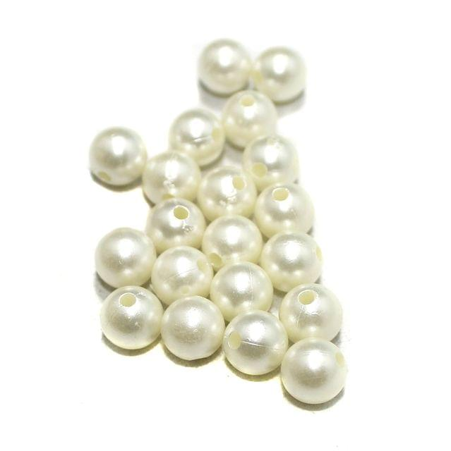 100 Pcs Acrylic Pearl Beads Off White 10mm