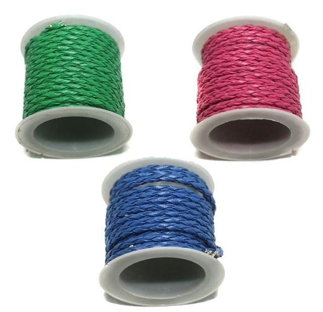 1 Set Of 3 Pcs Braided Leather Cords Combo 2.5 Mtr Each Color. Size 3mm