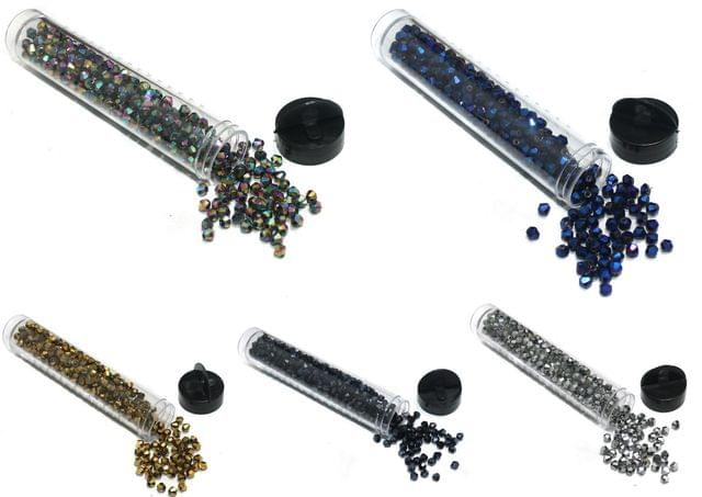 2000 Pcs Faceted Glass Bicone Beads Metallic 4mm Combo