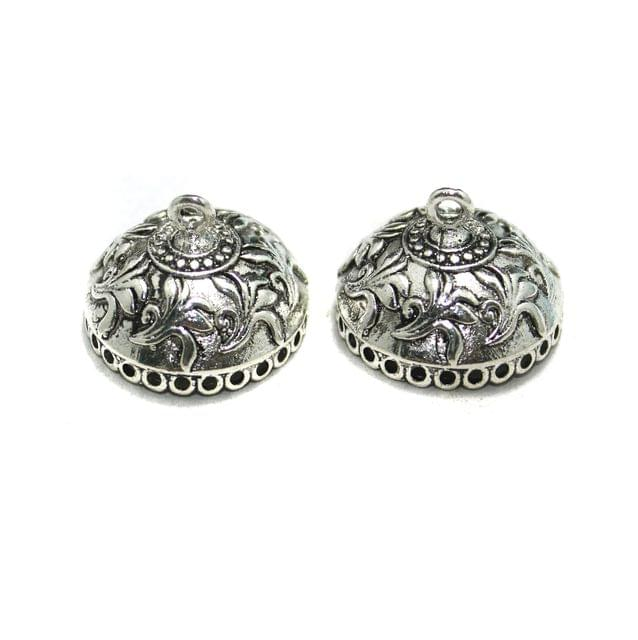 10 Pcs German Silver Jhumki Components 20x26mm