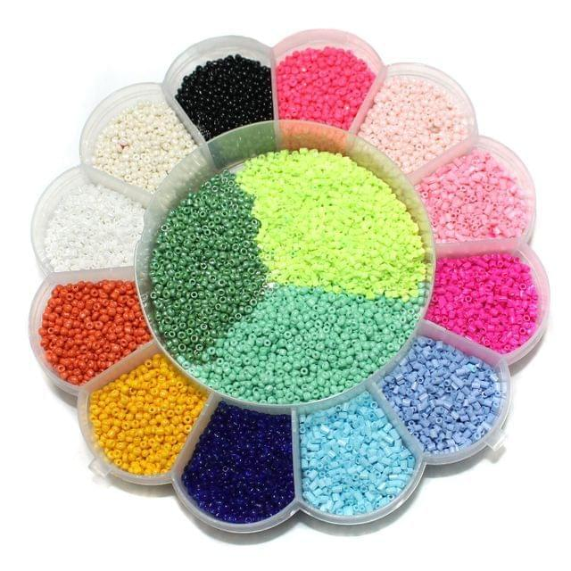 Jewellery Making Neon & Opaque Seed Beads Kit[14 Colors]