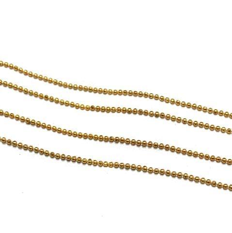10 Metal Aluminium Ball Chain Golden 1.5mm
