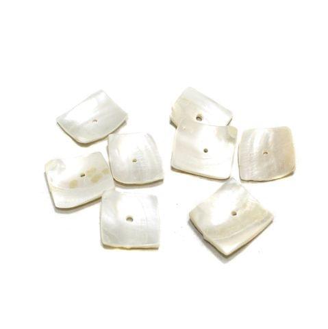 50 Pcs Flat Shell Beads Off White 21x20