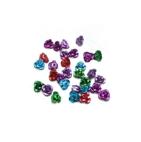 100 Pcs Multi Colored Flower Beads 6mm