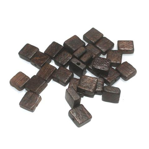 100 Pcs Wooden Beads Brown Square 10mm