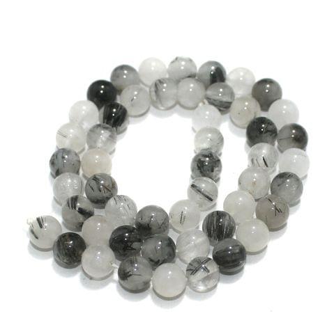 8mm Black Rutile Gemstone Beads 1 String