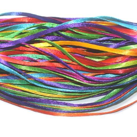 Multi Color Flat Satin Thread 6mm, For Jewellery Making, Craft