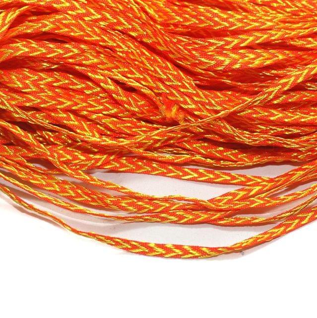 Dual Tone Orange Satin Thread 6mm, For Jewellery Making, Craft