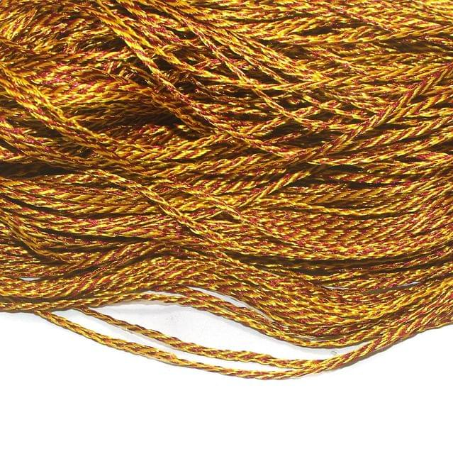 Golden Twisted Satin Thread 3mm, For Jewellery Making, Craft
