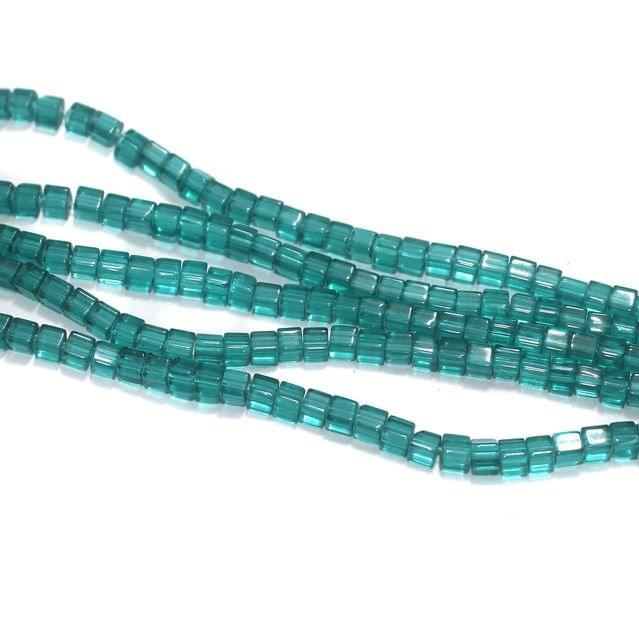 5 Strings Teal Tube Glass Beads 4x4mm
