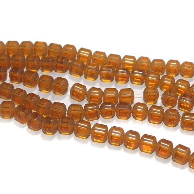 5 Strings Orange Half Matte Round Glass Beads 8mm