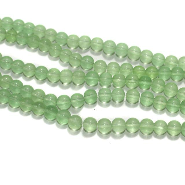 5 Strings Parrot Green Round Glass Beads 8mm