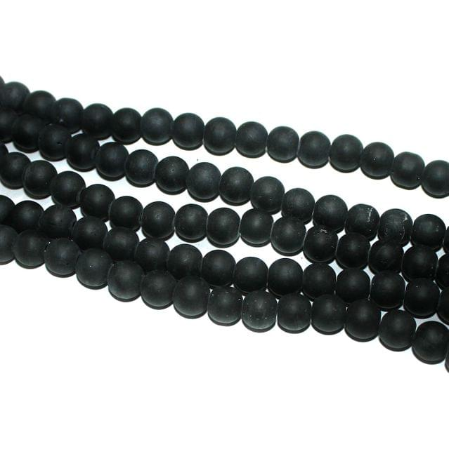5 Strings Matte Black Round Glass Beads 8mm