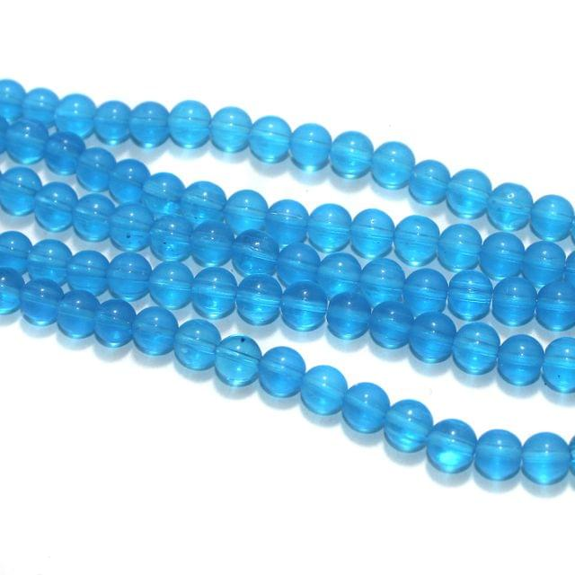 5 Strings Sky Blue Round Glass Beads 8mm