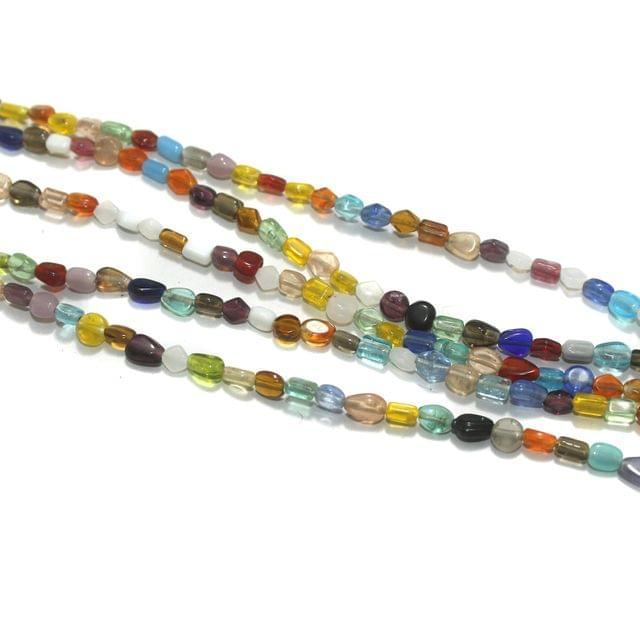 5 Strings Multi Color Mini Glass Beads 7x5mm