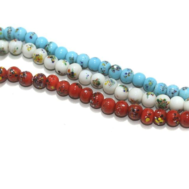 3 Multi Color Strings Round Glass Beads 10mm