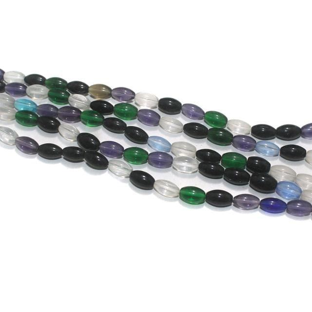 5 Strings Multi Color Oval Glass Beads 12x8mm