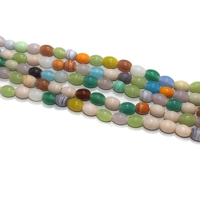 5 Strings Multi Color Oval Opaque Glass Beads 12x10mm