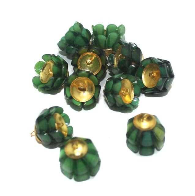 Green Takkar Work Earring Components 15x18mm, 10 Pcs