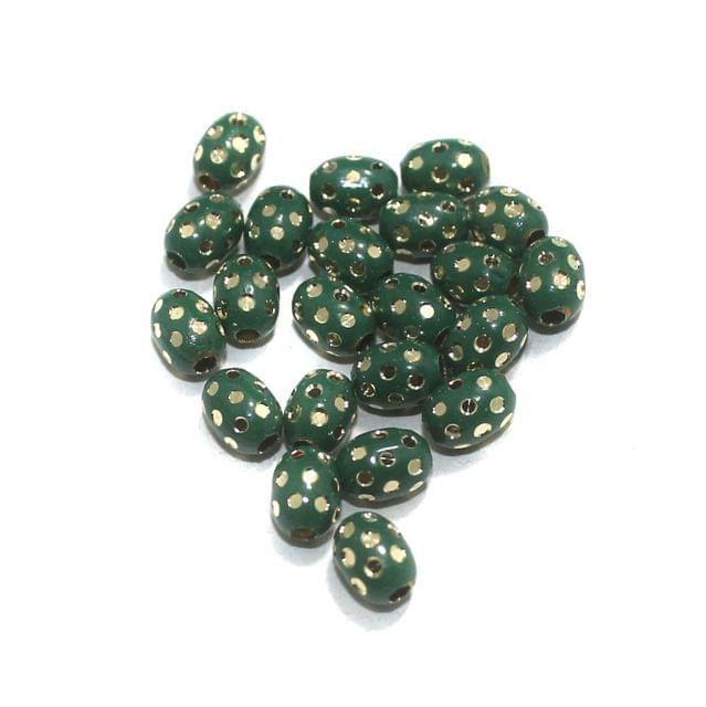 Green Brass Beads Oval 100 Pcs, 8x6mm