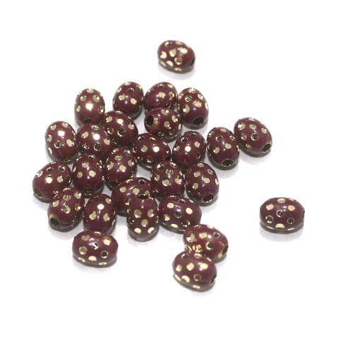 Maroon Brass Beads Oval 100 Pcs, 8x6mm