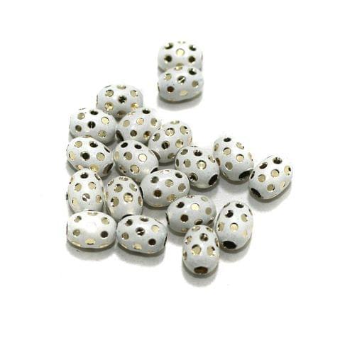 White Brass Beads Oval 100 Pcs, 8x6mm