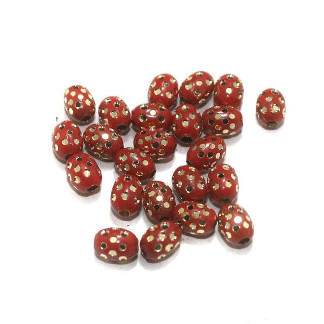 Red Brass Beads Oval 100 Pcs, 8x6mm