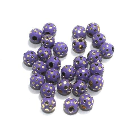 Purple Brass Beads Round 100 Pcs, 6mm