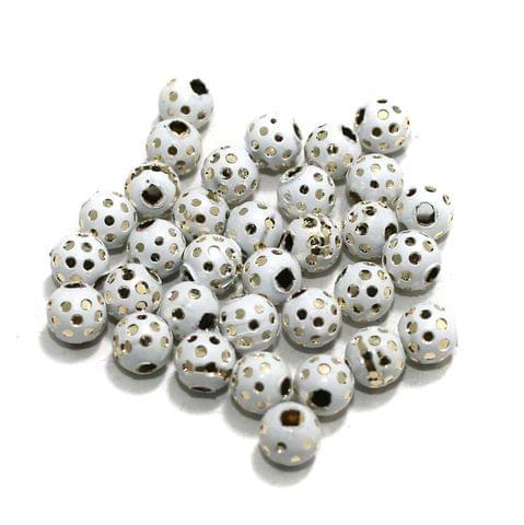 White Brass Beads Round 100 Pcs, 6mm