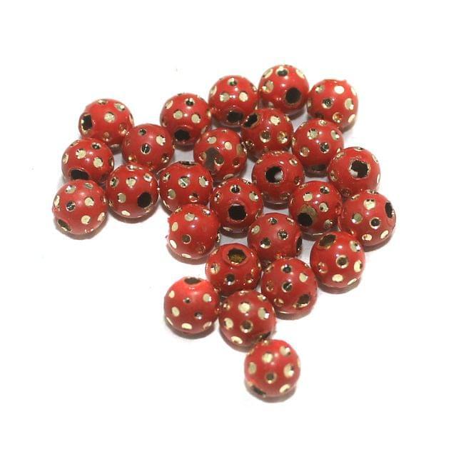 Red Brass Beads Round 100 Pcs, 6mm