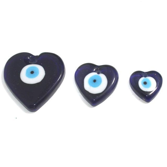 Heart Shape Evil Eye Graduated Pendant Set 3 Pcs