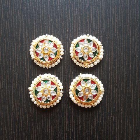 2pcs, Multi color, Kundan Meenakari Spacer, 24mm
