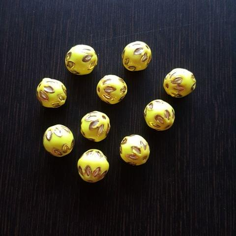 10pcs, Neon Green, Meenakari Balls, 12mm