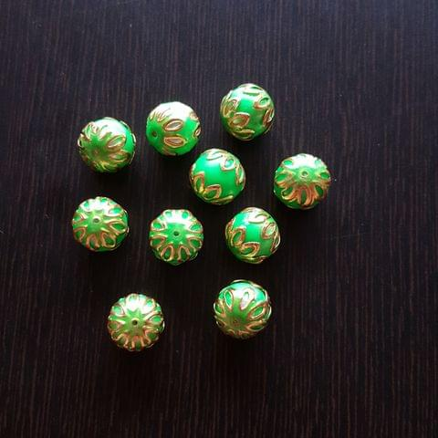 10pcs, Green, Meenakari Balls, 12mm