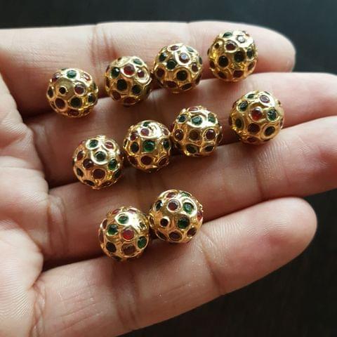10pcs, Maroon Green Jadau Balls, 12mm