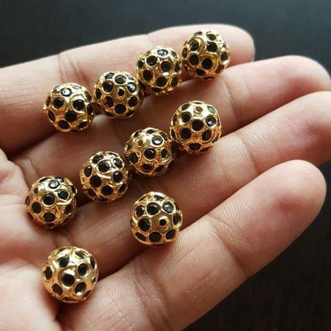 10pcs, Black Jadau Balls, 12mm