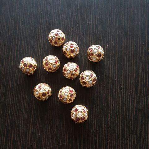 10pcs, Maroon Pearl Jadau Balls, 12mm