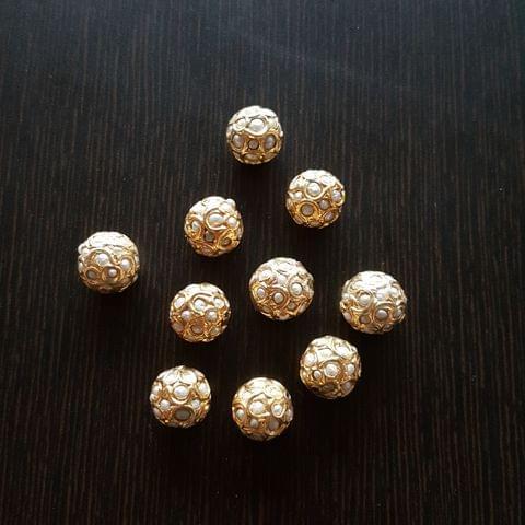 10pcs, Pearl Jadau Balls, 12mm