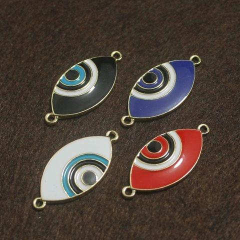 Multi Color Evil Eye Connectors 4 Pcs, 27x15mm