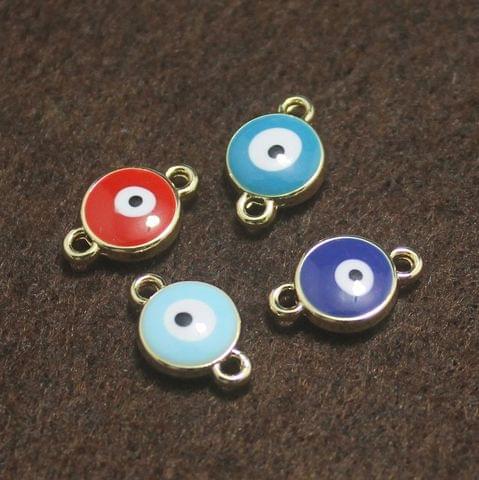 Multi Color Evil Eye Connectors Round 4 Pcs, 9mm