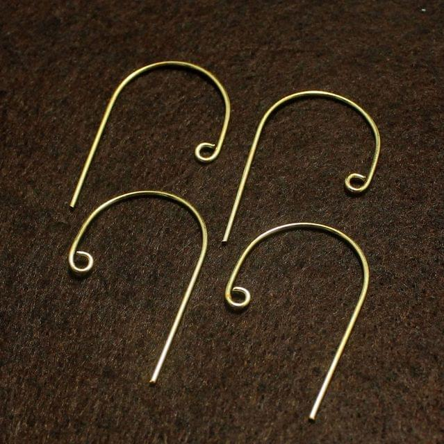 5 Pairs Brass Earrings Components Golden 40x22mm