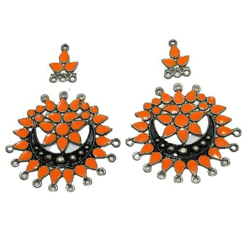 5 Pairs Orange Earring Components 50mm